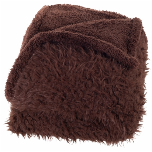 Lavish Home Solid Soft Plush Sherpa Fleece Throw Blanket - Coffee Perspective: top