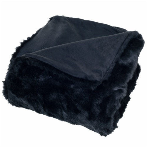 Lavish Home Luxury Long Haired Faux Fur Throw - Black Perspective: top