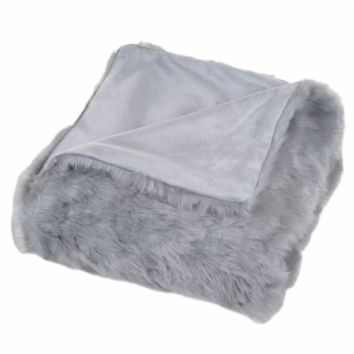 Lavish Home Luxury Long Haired Faux Fur Throw - Grey Perspective: top
