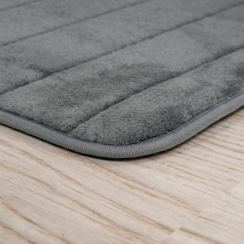 Lavish Home 2 Piece Memory Foam Striped Bath Mat Set - Platinum Perspective: top