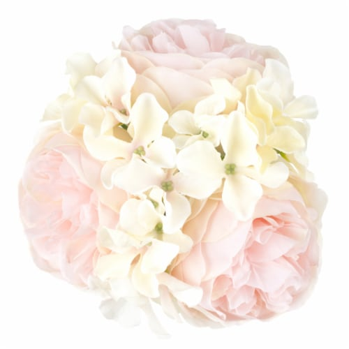 Pure Garden Hydrangea and Rose Floral Arrangement – Pink and Cream Perspective: top