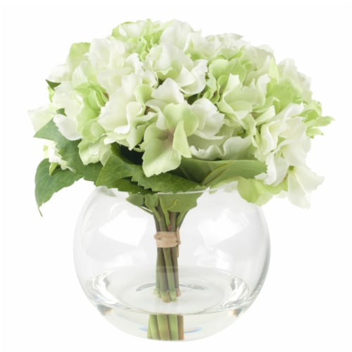 Pure Garden Hydrangea Floral Arrangement with Glass Vase - Green Perspective: top