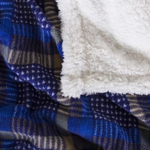 Lavish Home Fleece Sherpa Blanket Throw - Plaid Blue/Yellow Perspective: top