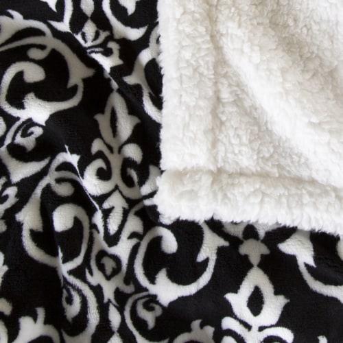 Lavish Home Fleece Sherpa Blanket Throw - Black/White Perspective: top