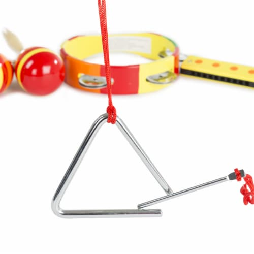 Kids Percussion Musical Instruments Toy Set Maracas Harmonica Triangle Perspective: top
