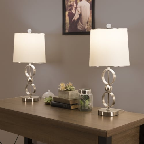 Set of 2 Modern Metal Matching Table Lamps with LED Bulbs and Shades Included Perspective: top