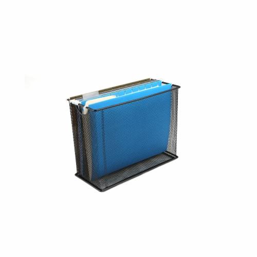 Mind Reader Metal Mesh File Organizer Storage Basket - Black Perspective: top