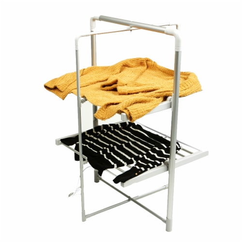 Mind Reader Large Electric Heated Clothing Rack - Silver Perspective: top