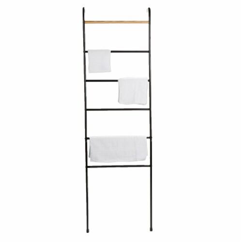 Mind Reader 6-Bars Freestanding Towel Rack - Black Perspective: top