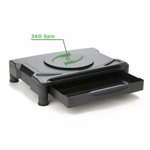 Mind Reader Rotative Adjustable Monitor Risers with Drawer - Black Perspective: top
