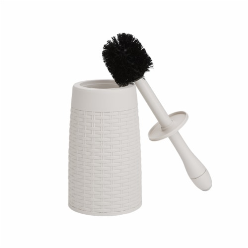 Mind Reader Round Toilet Brush with Holder - Ivory Perspective: top