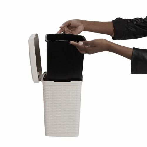 Mind Reader Square Pedal Bathroom Trash Bin - Ivory Perspective: top