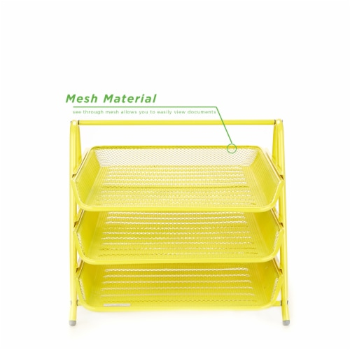 Mind Reader 3-Tier Mesh Paper File Tray Desk Organizer - Yellow Perspective: top