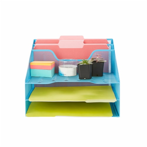 Mind Reader 5 Compartments Desk Organizer Tray - Blue Perspective: top