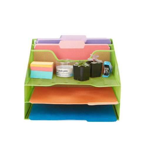 Mind Reader 5 Compartments Desk Organizer Tray - Green Perspective: top