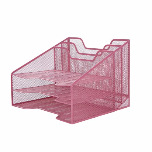 Mind Reader 5 Compartments Desk Organizer Tray - Pink Perspective: top
