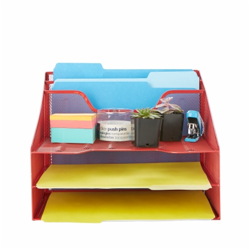 Mind Reader 5 Compartments Desk Organizer Tray - Red Perspective: top