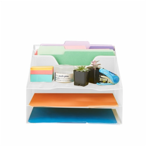 Mind Reader 5 Compartments Desk Organizer Tray - White Perspective: top