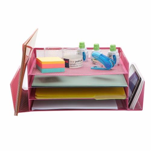 Mind Reader 6-Compartment Desk Organizer - Pink Perspective: top