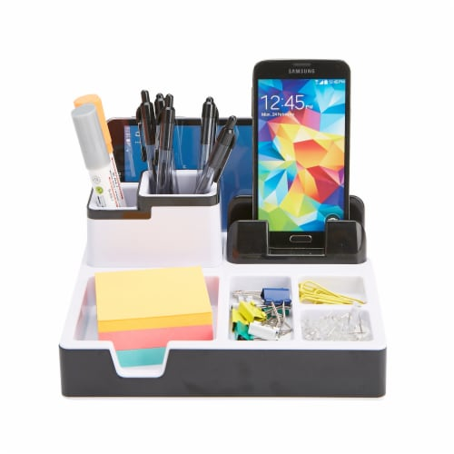 Mind Reader Desk Supplies Organizer with USB Port Charging Station Perspective: top