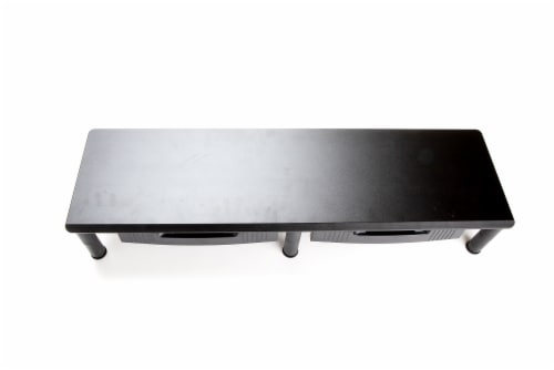 Mind reader Large Dual Monitor Stand With Storage Drawers - Black Perspective: top