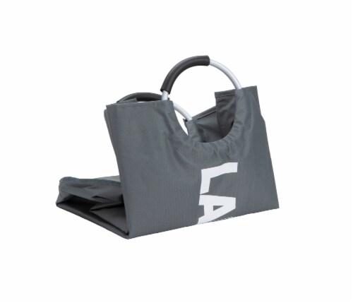Mind Reader 82 Liter Large Laundry Hamper Basket - Grey Metallic Perspective: top