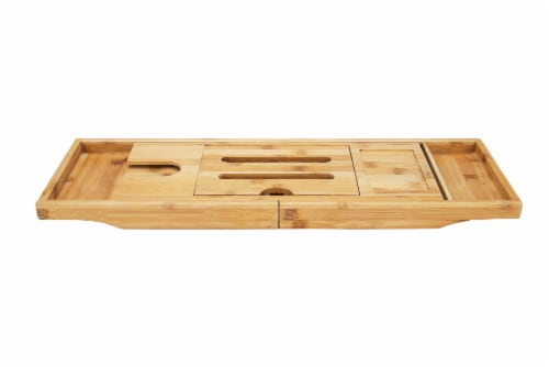 Mind Reader Luxury Extendable Bamboo Bath Caddy - Brown Perspective: top