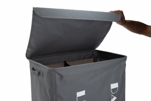 Mind Reader Double Rolling Laundry Hamper Sorter With Lid - Grey Metallic Perspective: top