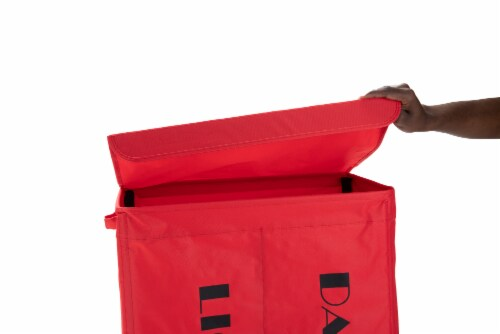 Mind Reader Double Rolling Laundry Hamper Sorter With Lid - Red Perspective: top