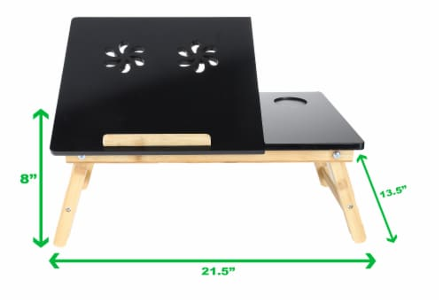 Mind Reader Coolpad Laptop Flip Top Adjustable Desk Tray - Black/Brown Perspective: top