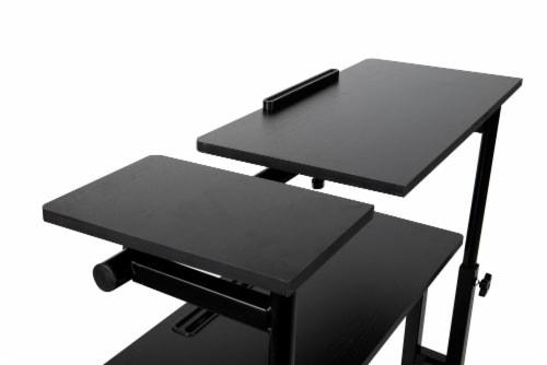 Mind Reader Large Rolling Sitting and Standing Reversible Workstation Desk - Black Perspective: top