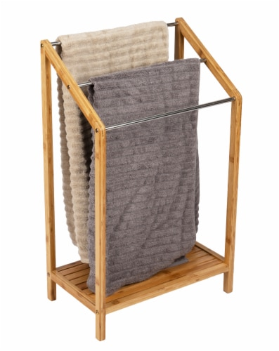 Mind Reader 3-Tier Freestanding Bamboo Drying Rack with Bottom Shelf Perspective: top