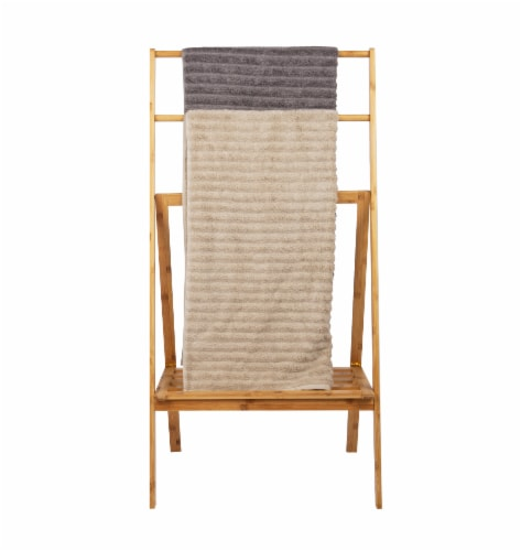 Mind Reader Freestanding Bamboo Drying Rack with Shelf Perspective: top