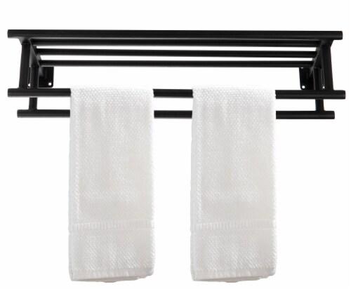 Mind Reader Wall Mounted Towel Rack - Black Perspective: top