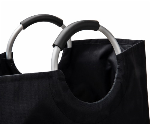 Mind Reader Foldable Cloth Laundry Bag With Handles - Black Perspective: top