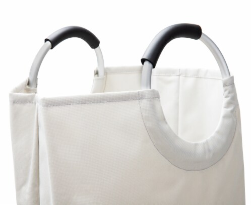 Mind Reder Foldable Cloth Laundry Bag With Handles - Grey Perspective: top