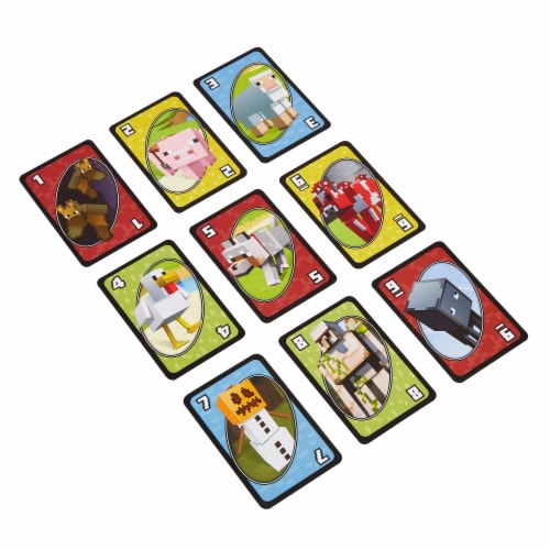 Mattel Uno Minecraft Card Game Perspective: top
