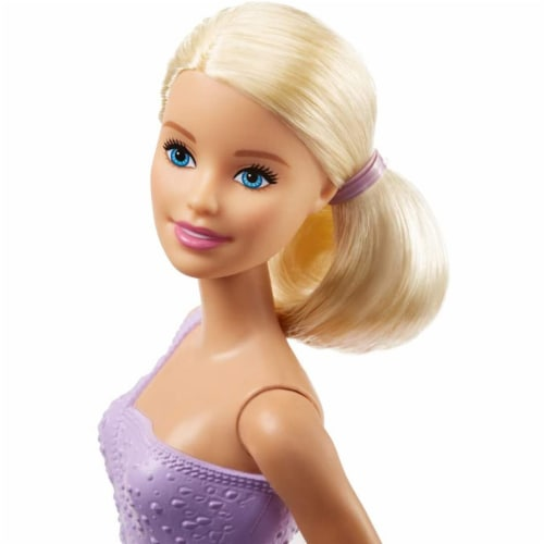 Barbie Figure Skater Doll Dressed in Purple Outfit Perspective: top