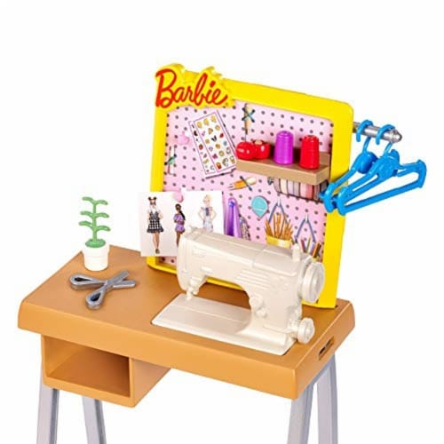 Barbie Fashion Design Studio Playset with Sewing Machine Station, Dress Form and Themed Toys Perspective: top