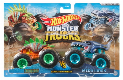 Mattel Hot Wheels® Monster Trucks Demolition Doubles Racing vs Baja Buster Vehicle - Assorted Perspective: top