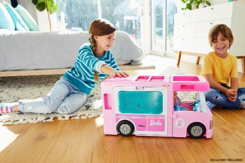 Mattel Barbie 3-in-1 DreamCamper Vehicle and Accessories Playset Perspective: top