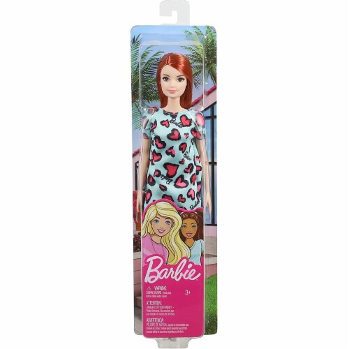 Barbie Doll, Red Hair, Wearing Yellow and Purple Heart-Print Dress and Platform Sneakers Perspective: top