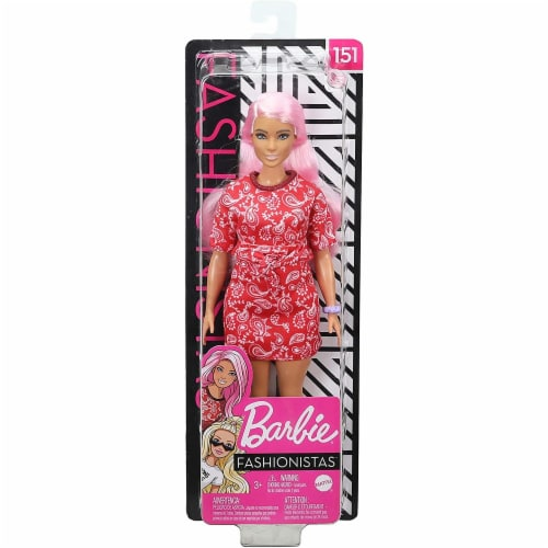 Barbie Fashionistas Doll with Long Pink Hair Wearing a Red Paisley Top & Skirt Perspective: top