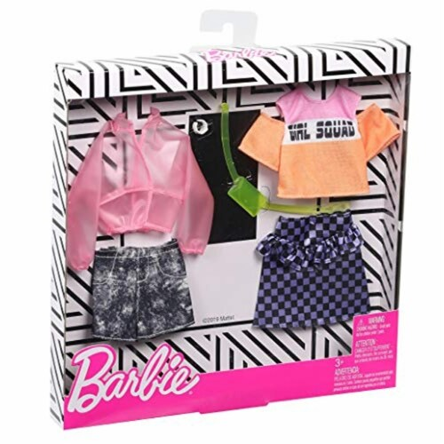 Barbie Jacket Top Skirt Shorts & Doll Accessories Perspective: top