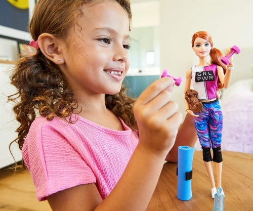 Barbie Fitness Doll, Red-Haired, with Puppy and 9 Accessories, Including Yoga Mat with Strap Perspective: top