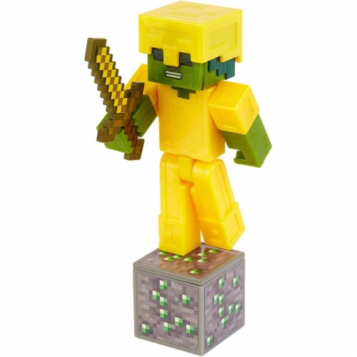 Minecraft Earth Zombie with Gold Armor Figure Perspective: top
