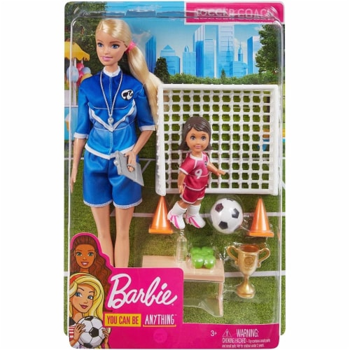 Barbie Soccer Coach Playset w/ Blonde Soccer Coach Doll, Student Doll & Accessories Perspective: top