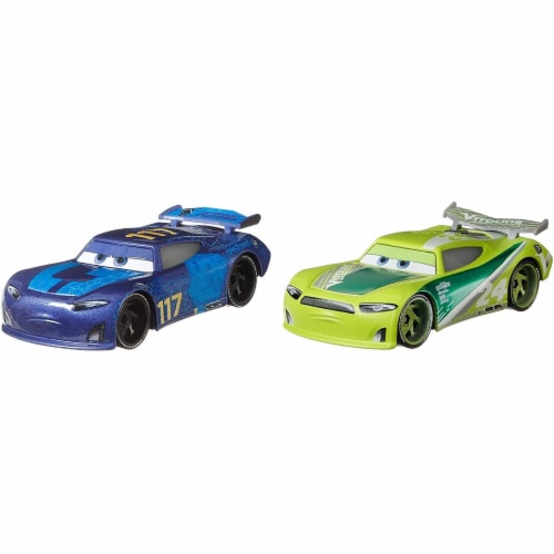 Disney Pixar Cars Spikey Fillups and Chase Racelott Toy Racers Perspective: top