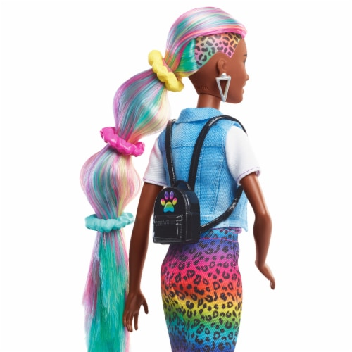 Mattel Barbie® Leopard Rainbow Hair Doll Perspective: top