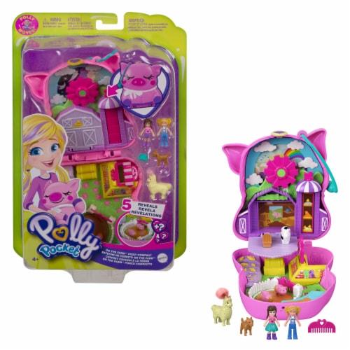 Polly Pocket On The Farm Piggy Compact, Farm Theme, Micro Polly Doll & Friend Doll Perspective: top